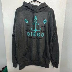 Tops - San Diego Surf California Teal Gray Hoodie